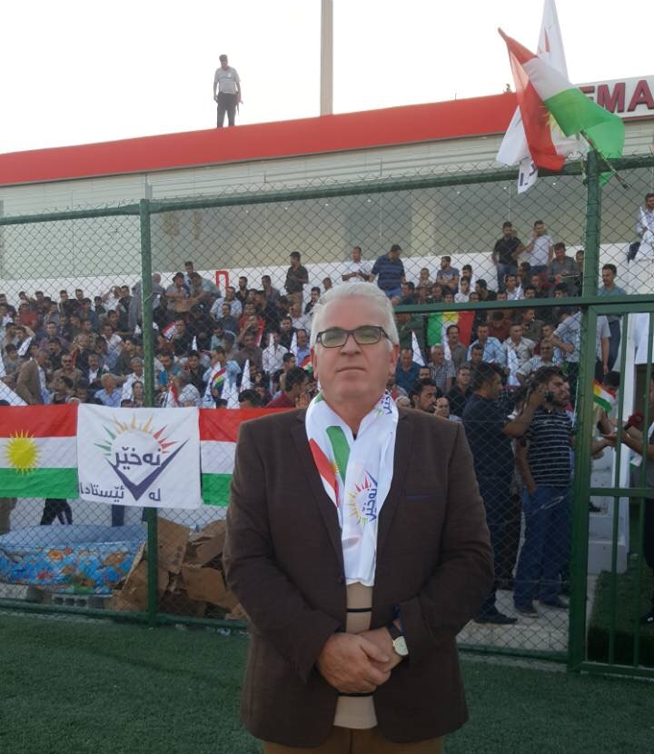 "Ismail Saeed Mohammed Ali (Ismail Gelaleiy)  during the ""No for Now"" rally in the city of Sulaimani."