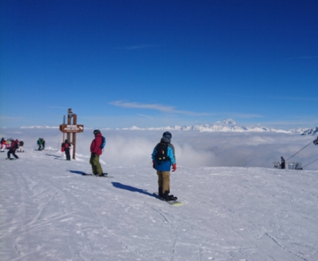 Snowboarders and Skiers