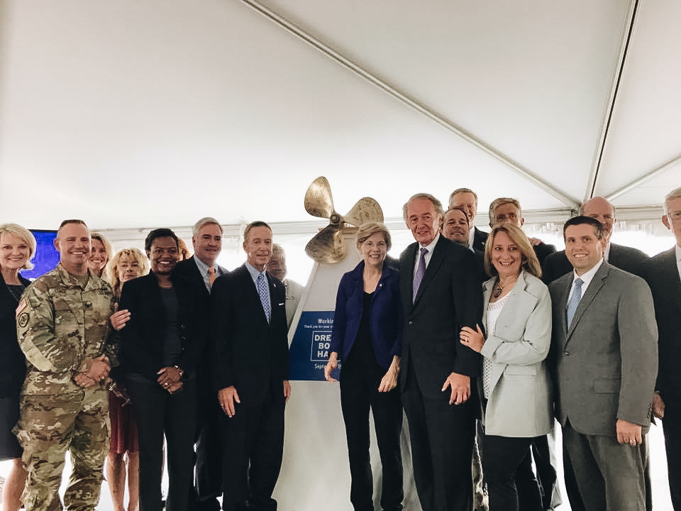 Rep. Ehrlichcelebrates the start of construction for The Boston Harbor Dredging Project by the Army Corps of Engineer with U.S. Senators Elizabeth Warren and Ed Markey