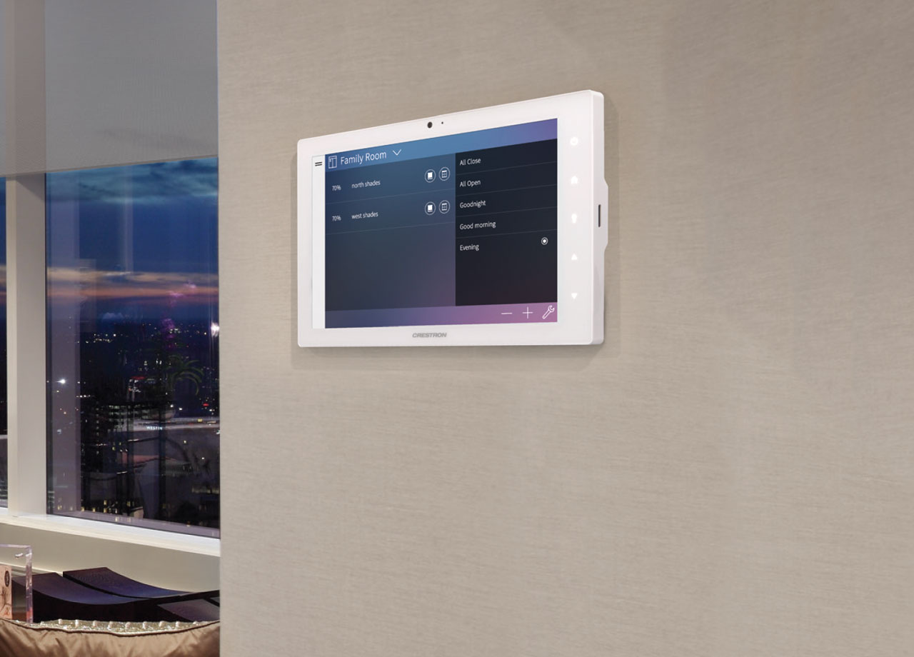 Pictured: Crestron On-Wall Touch Screen