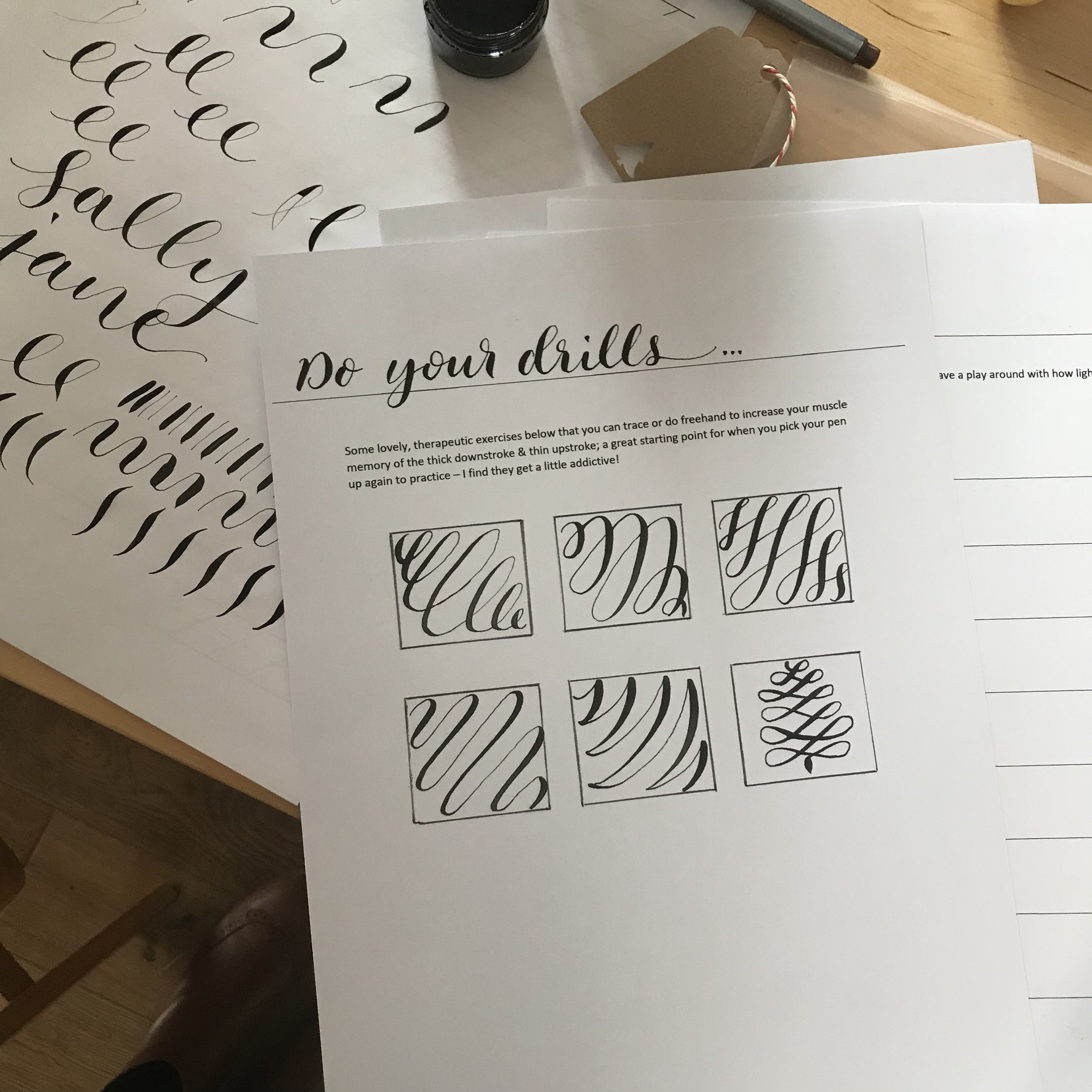 calligraphy workshop drills