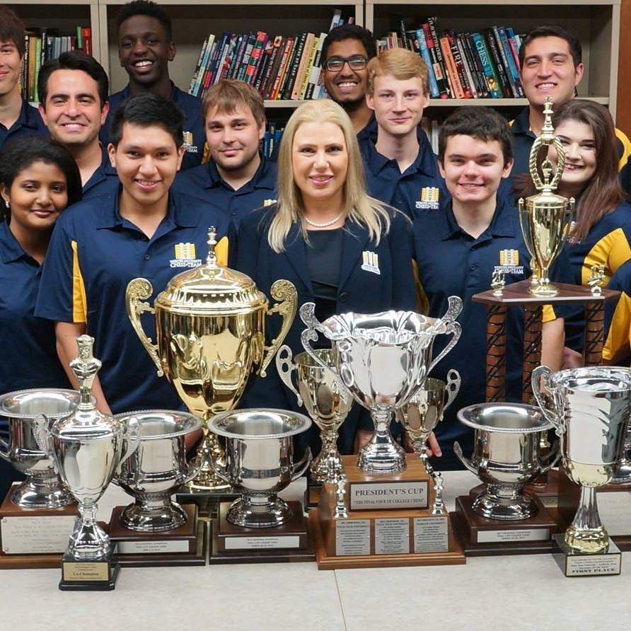 Susan Polgar and some members of the Webster University 2017-2018 Chess Team.