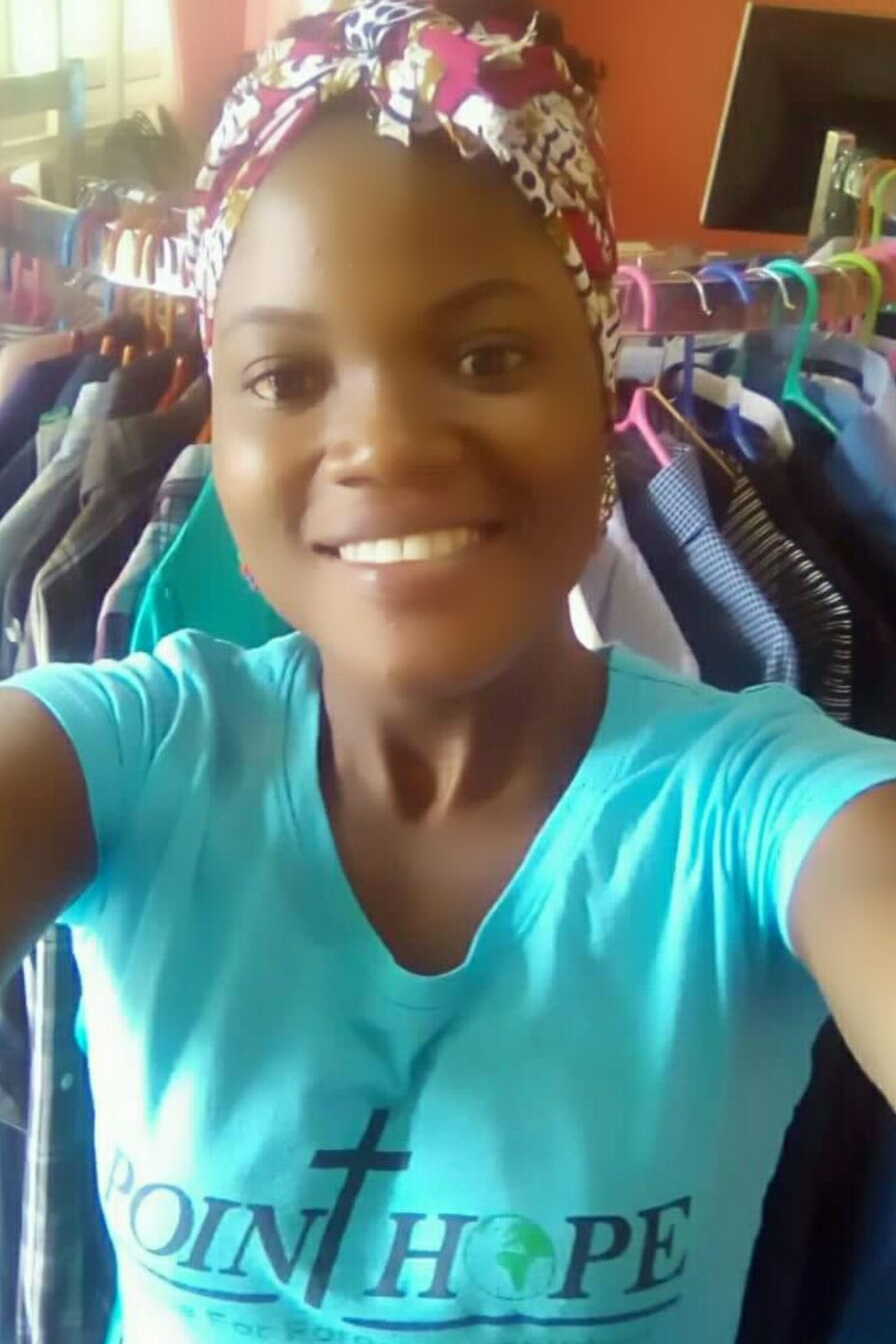 Stella also helps out and sells her creations in Point Hope Ghana's boutique.