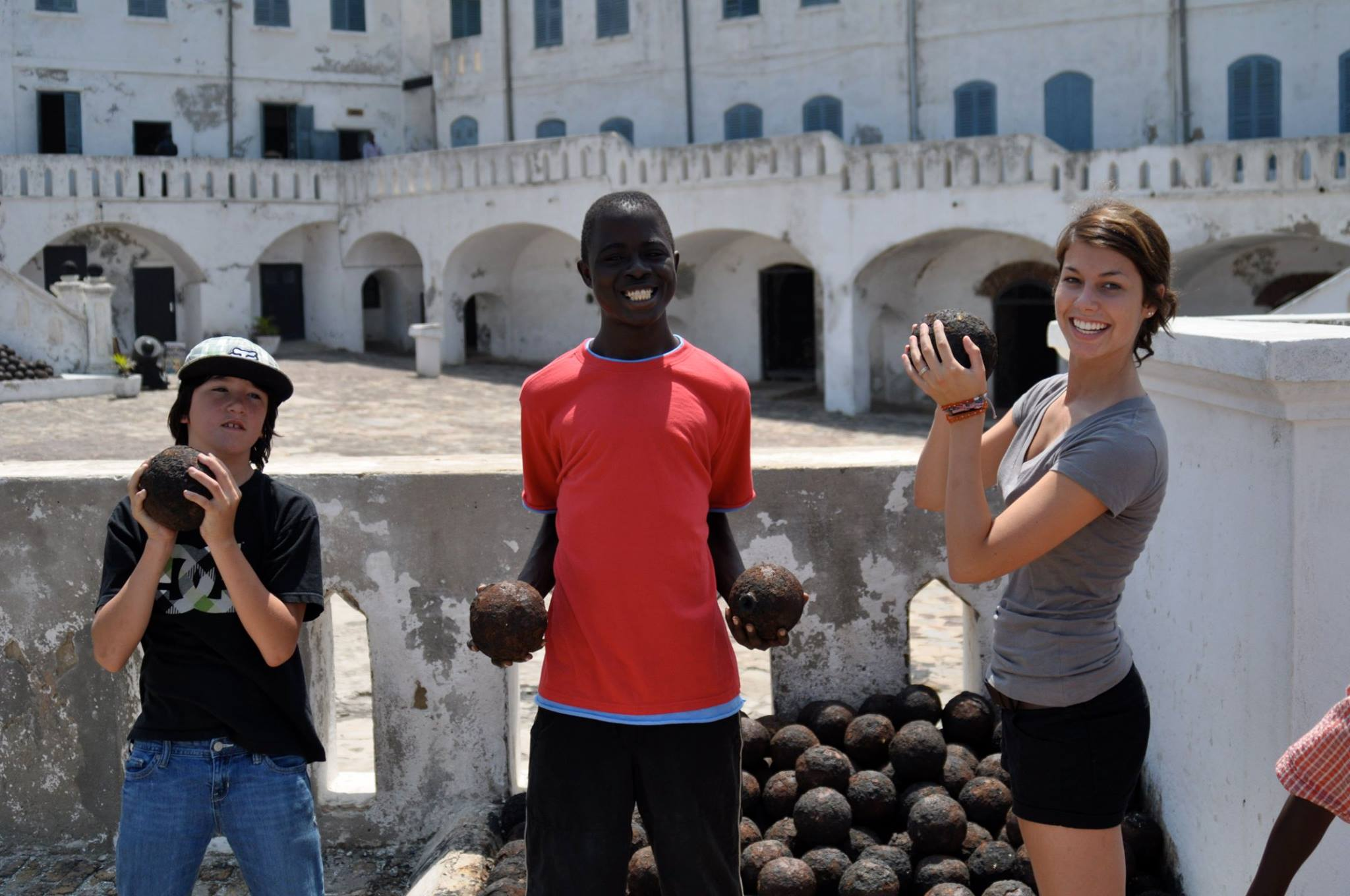 Zack, Sammy, and Kristi touring the Elmina slave castle in the Central Region. This, and the Cape Coast slave castle, are the two major tourists destinations to hear and see the history of the slave trade between Africans and Europeans on the Gold Coast.