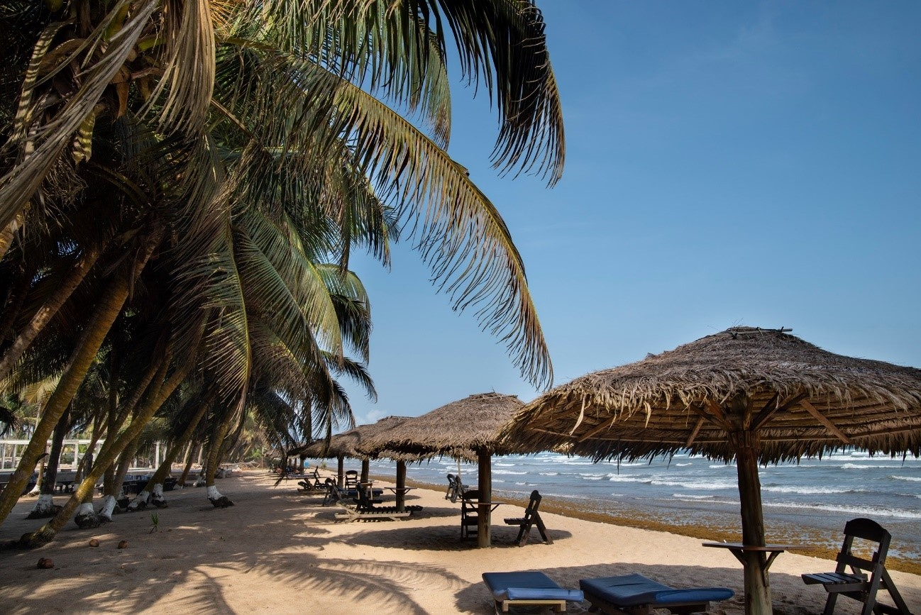 A beach at a lovely resort and restaurant in Western Region, Ghana, West Africa