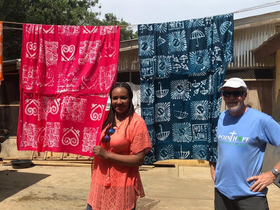 Me (Kate) and fellow volunteer and batik-trainee, Ron Finney