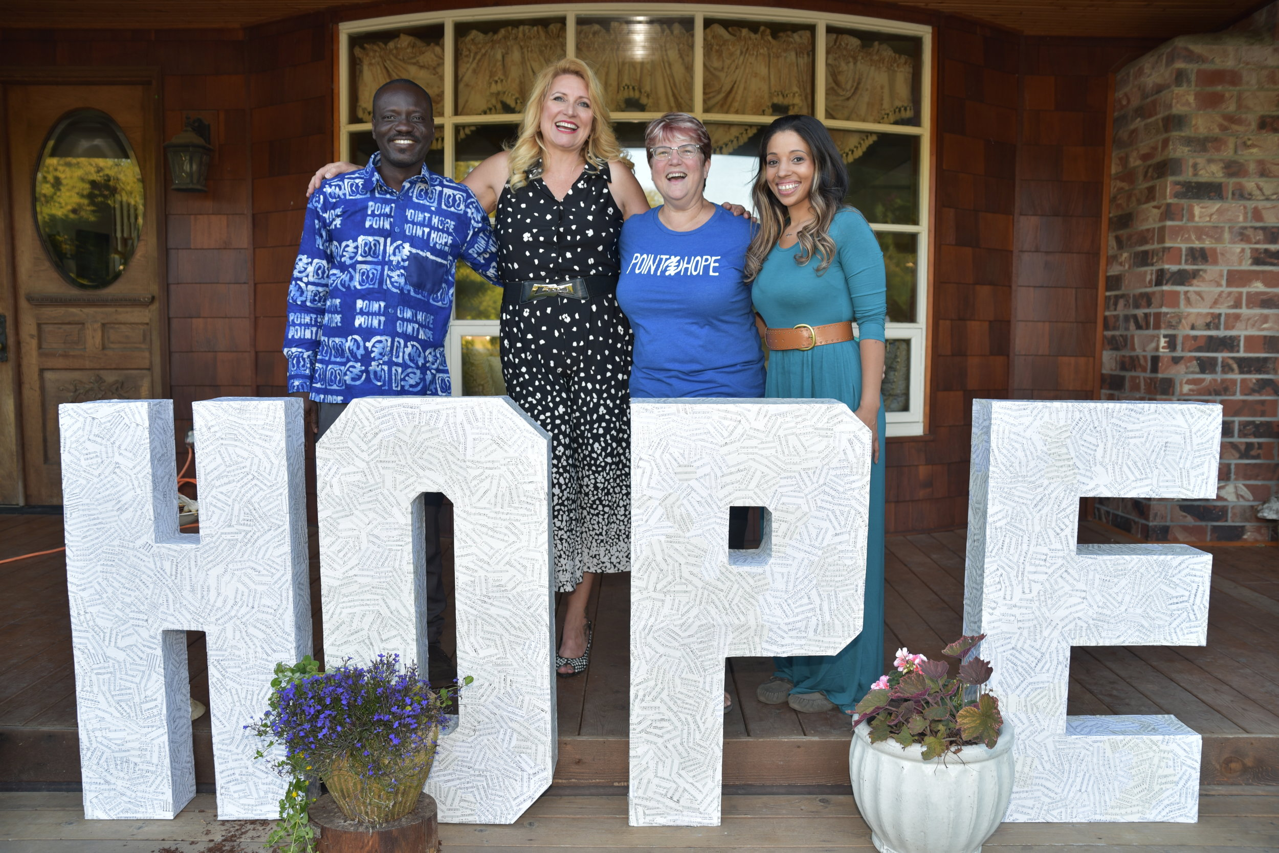 Adam (Point Hope Ghana Director), Delilah (Founder), Jan (Point Hope Executive Director), Erin (Office Manager & Domestic Programs Coordinator)