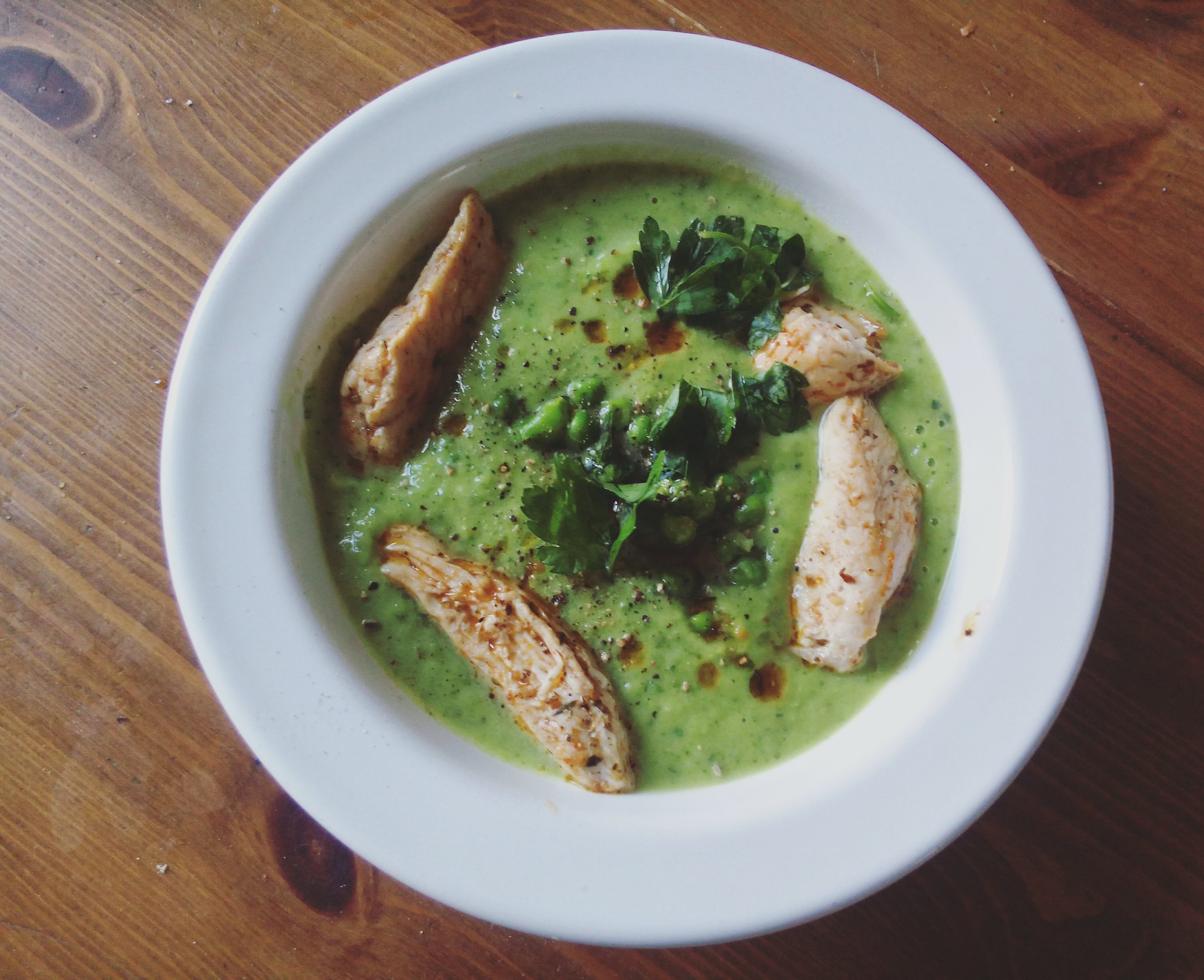 Zucchini-Pea Soup with chicken, for those that choose to eat meat ;)