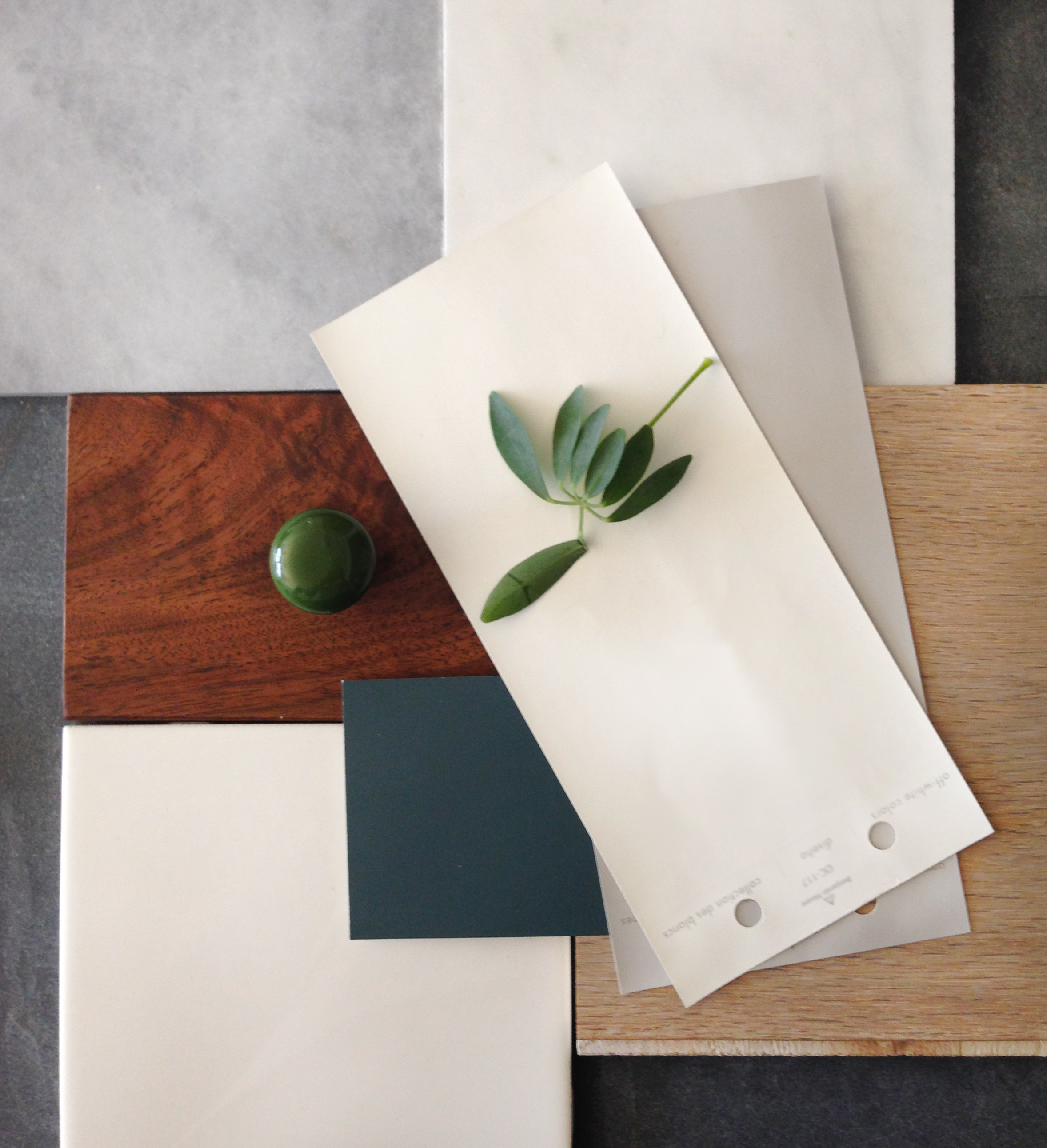 Material palette for a townhouse.