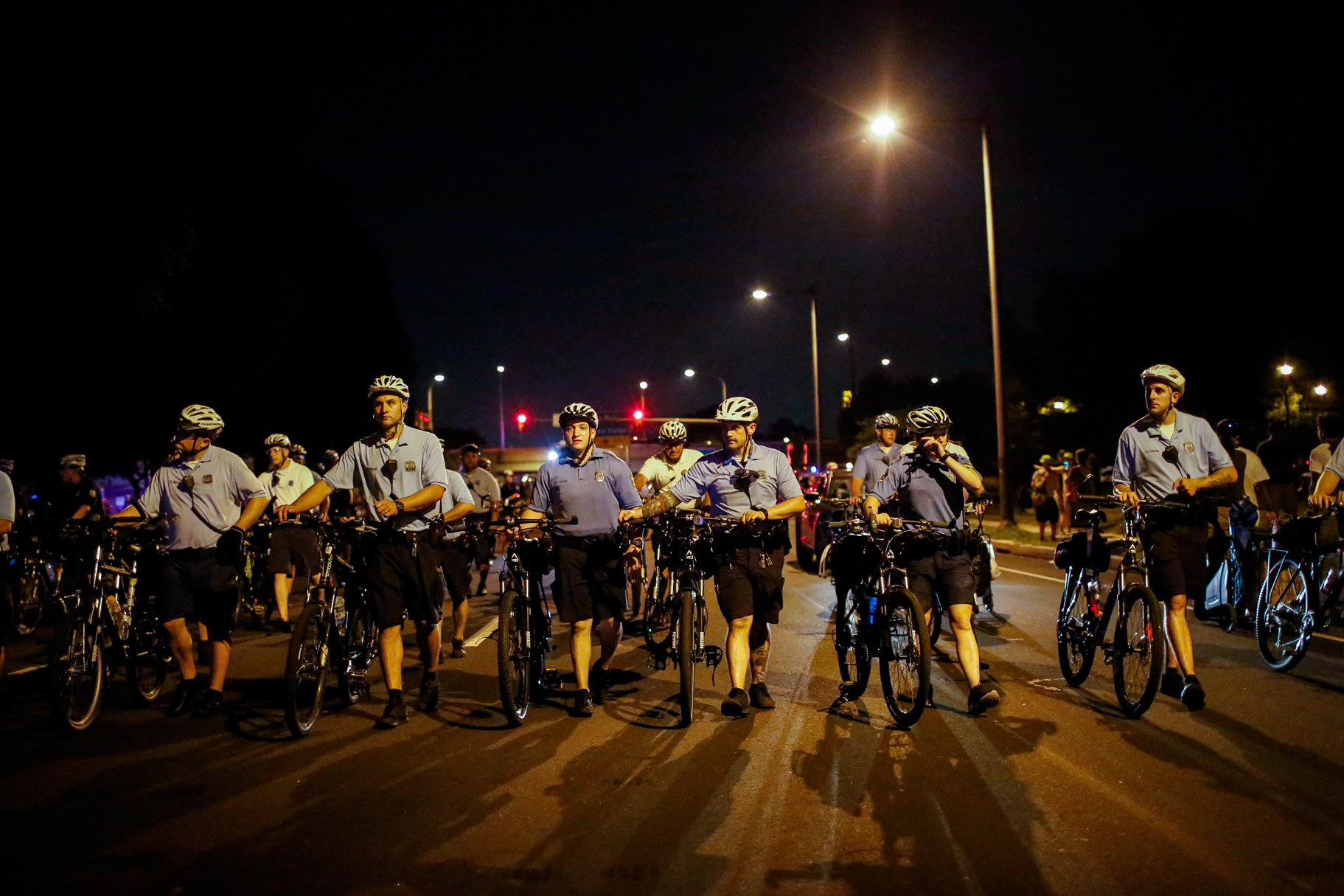 Philly Bicycle Cops Shadowing Protestors