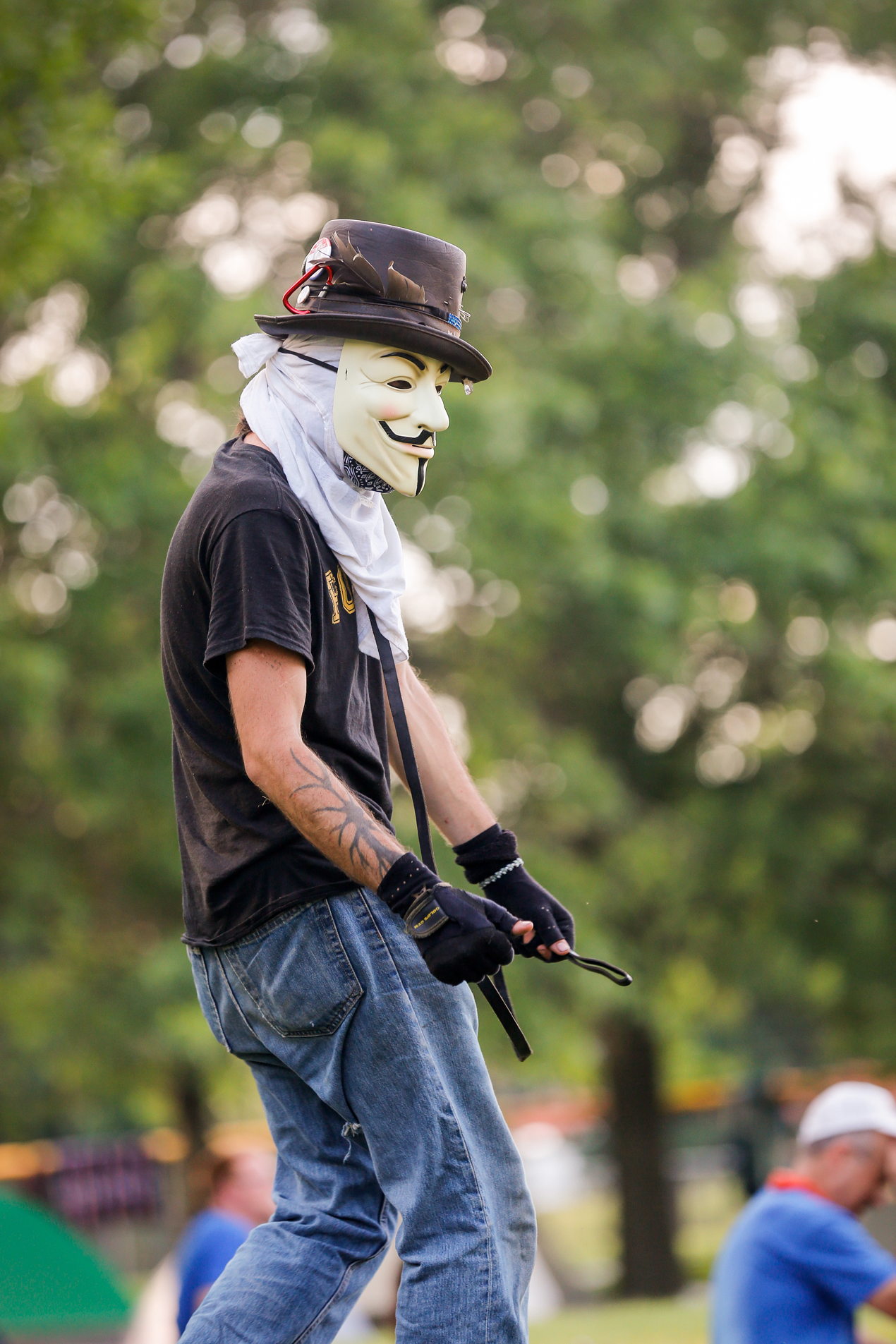 2016 DNC Protestor in Guy Fawkes Mask