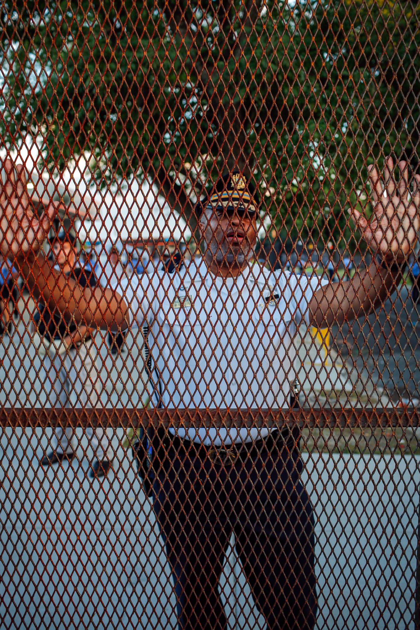 Philadelphia Police Officer Through the Barricade