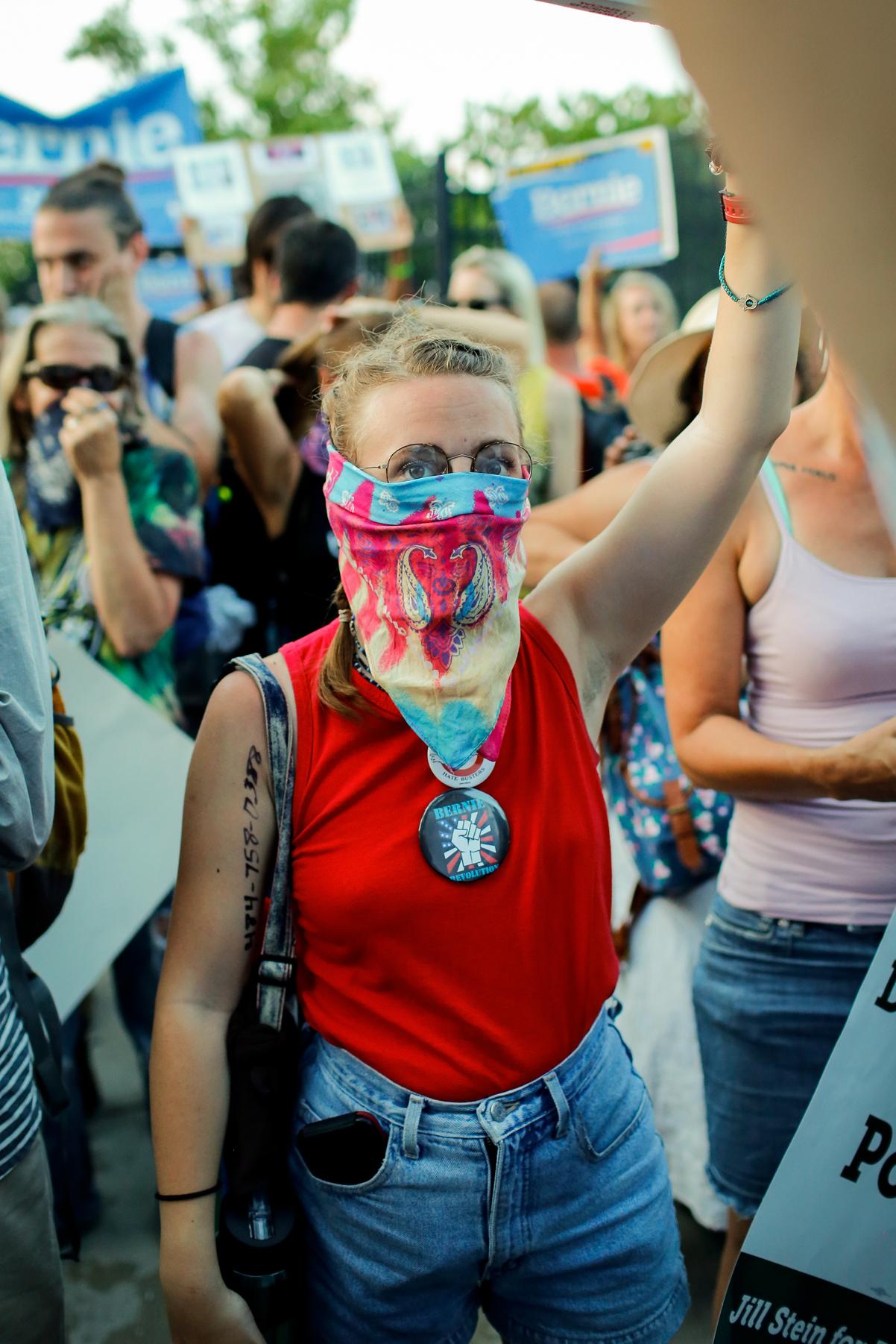 Masked Demonstrator Outside Barricade
