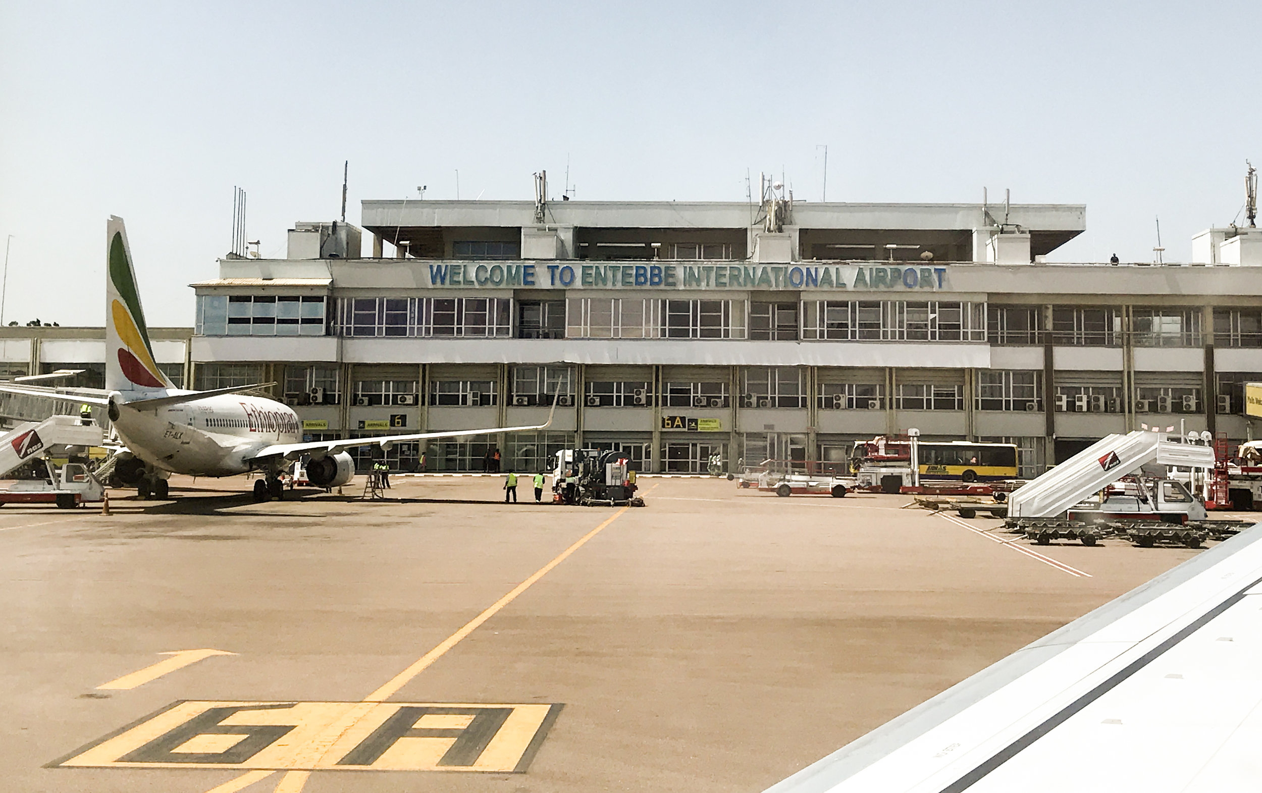 Cell Phone shot of touchdown at Entebbe International Airport in Uganda