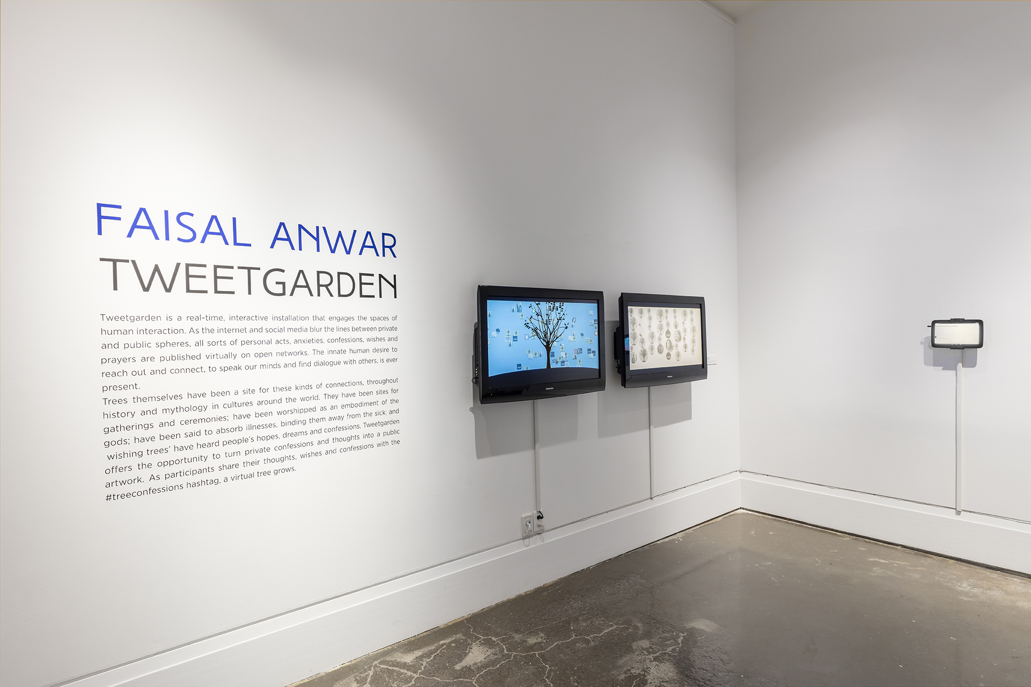 Faisal Anwar,  Tweetgarden , Resource Room, Art Gallery of Mississauga. Photo by Toni Hafkenscheid.
