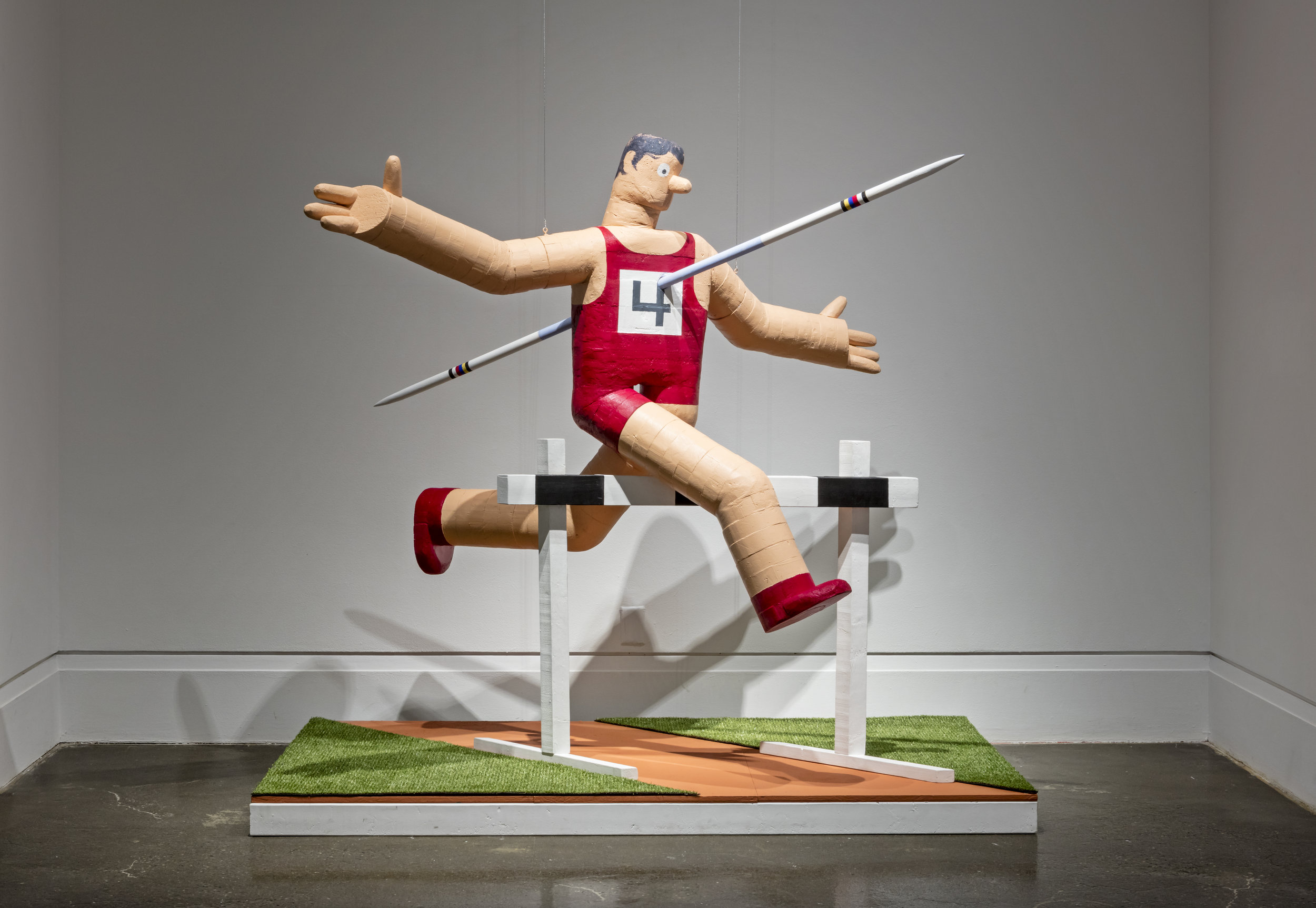 Hudson Christie,  Track and Field, Meeting , 2014, Insulation Board, wood, canvas, vinyl grass, acrylic paint. Robert Freeman Gallery, Art Gallery of Mississauga. Photo by Toni Hafkenscheid.