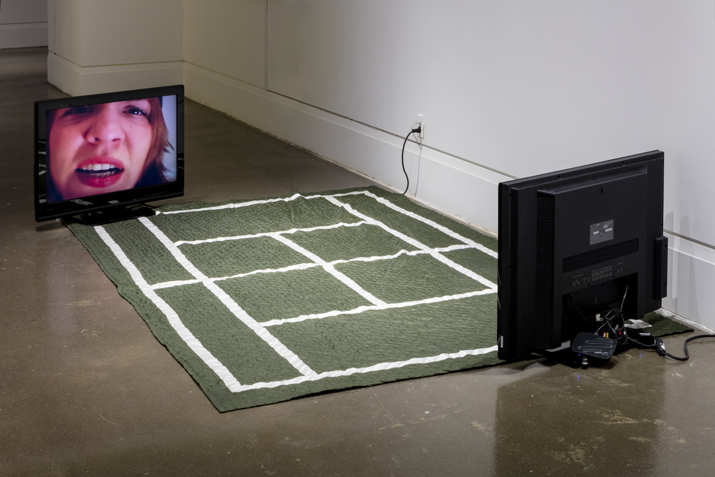 Weber & Schneider (Sonya Horn and Tina Schneider),  Wimbledom , 2000, Textile sculpture, two-channel video. Robert Freeman Gallery, Art Gallery of Mississauga. Photo by Toni Hafkenscheid.