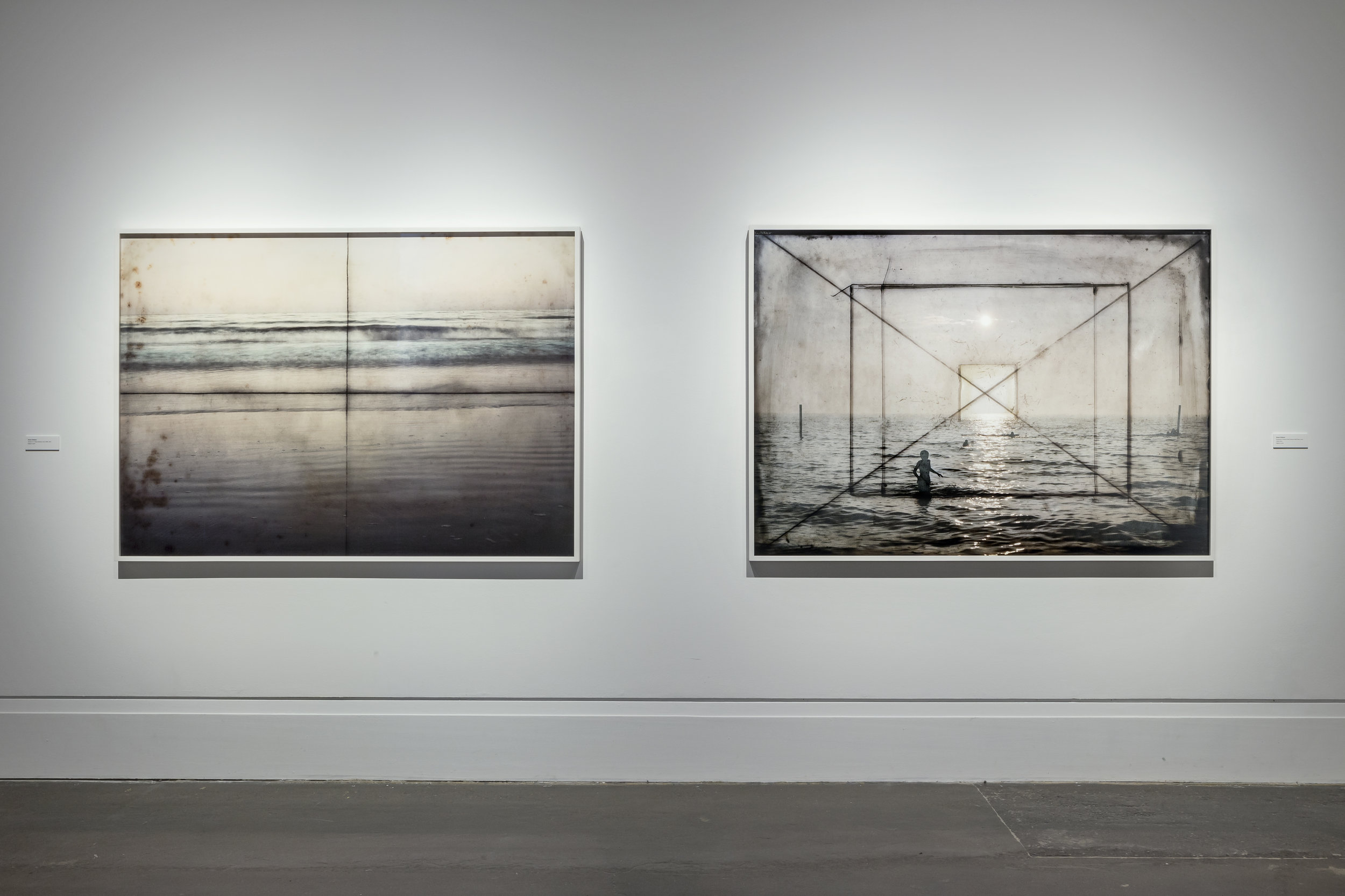 The View From Here , Main Gallery, Art Gallery of Mississauga. Susan Dobson, Seneca 5 x 7 View Camera, circa 1940 , 2013.  Sanderson Tropical Field Camera Half Plate, circa 1920, 2014. Photo by Toni Hafkenscheid.