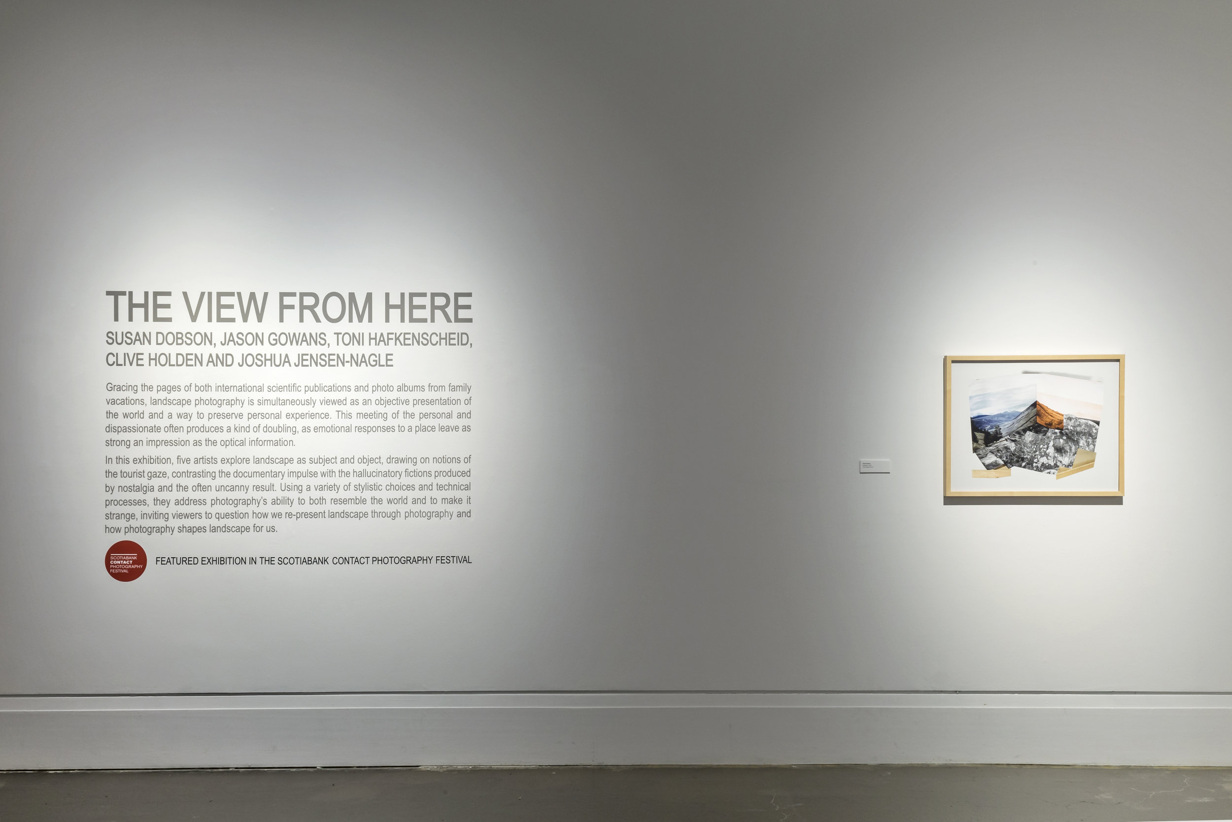 The View From Here, Main Gallery, Art Gallery of Mississauga. Right: Jason Gowans,  Landscape 1 , 2013. Photo by Toni Hafkenscheid.