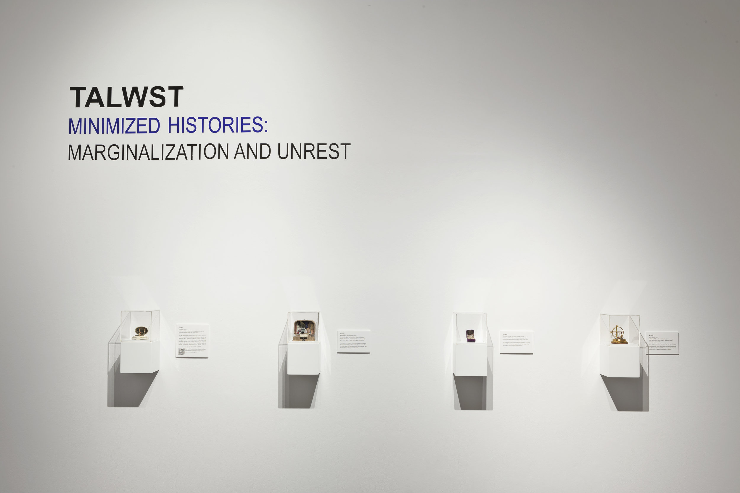 TALWST,  Minimized Histories: Marginalization and Unrest , 2015, XIT-RM Gallery, Art Gallery of Mississauga. Photo by Toni Hafkenscheid.