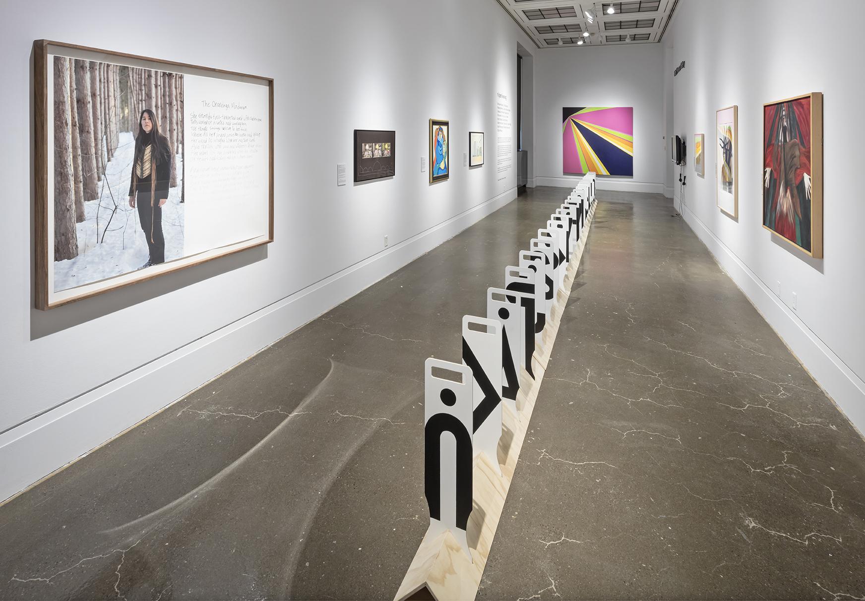 niigaanikwewag , Robert Freeman Gallery, Art Gallery of Mississauga. Photo by Toni Hafkenscheid