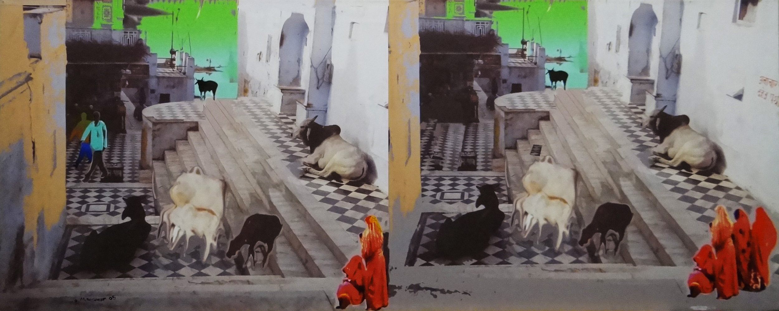Pushkar , 2005 Mixed media giclee on canvas 51x127 cm