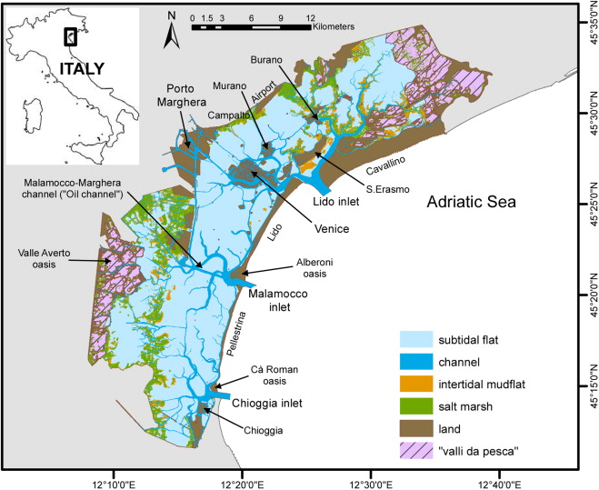 Present day and post-risen seas. The areas of salt marsh's are still very prevalent in Venetian economics.  Link