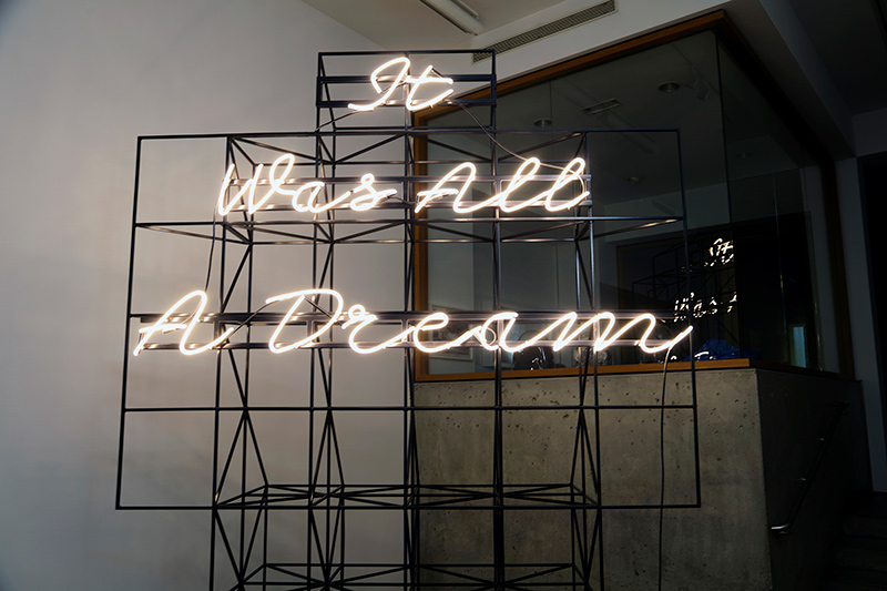 Matthew Sleeth It Was All A Dream (Neon and Steel Sculpture) Image courtesy of Claire Oliver Gallery