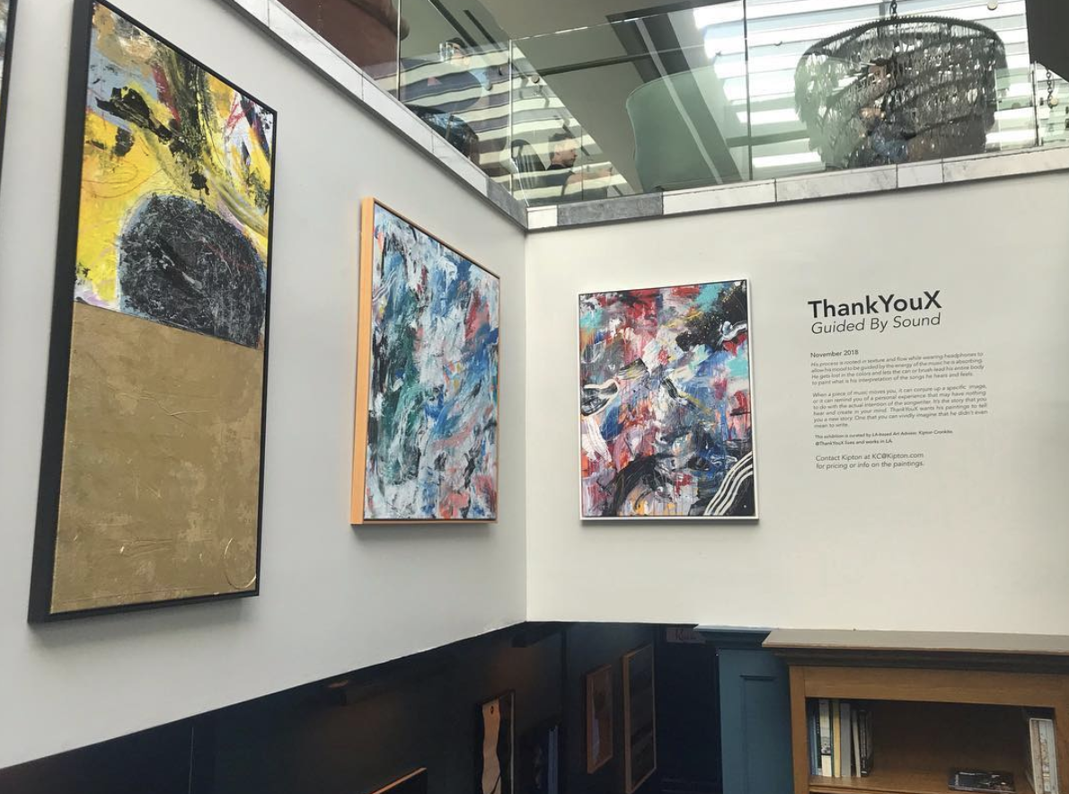 ThankYouX 'Guided by Sound' exhibition on display at Soho House West Hollywood, CA, November 2018. Curated by Kipton Cronkite.