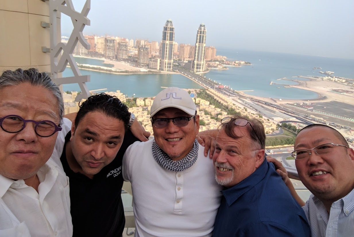 Chef Morimoto and team during construction of Morimoto Doha