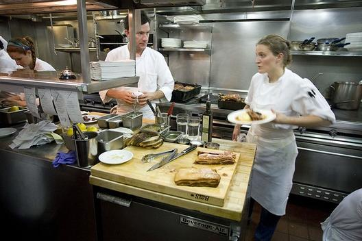 Chef April Bloomfield and team at The Spotted Pig   Photo: Noah Kalina
