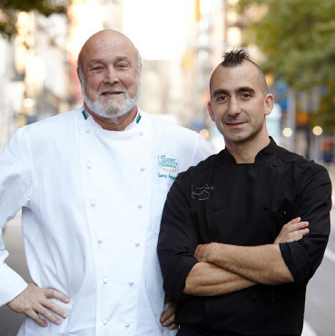 Chef Marc Forgione with his father, Chef Larry Forgione   Photo: Evan Sung