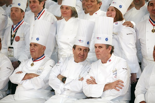 2009, Lyon, France Master chefs Paul Bocuse, Daniel Boulud and Thomas Keller at the Bocuse D'Or, the renowned international cooking contest
