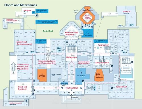 Metropolitan Museum of Art Floor 1 and Mezzanine map
