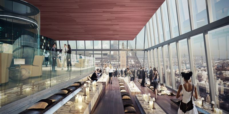 Rendering of Rhubarb's lounge near the observation deck at Hudson Yards   Photo: Related Companies and Oxford Properties Group