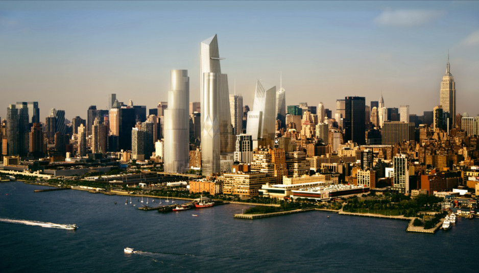 Rendering of NYC skyline with Hudson Yards development   Photo: Related Companies and Oxford Properties Group