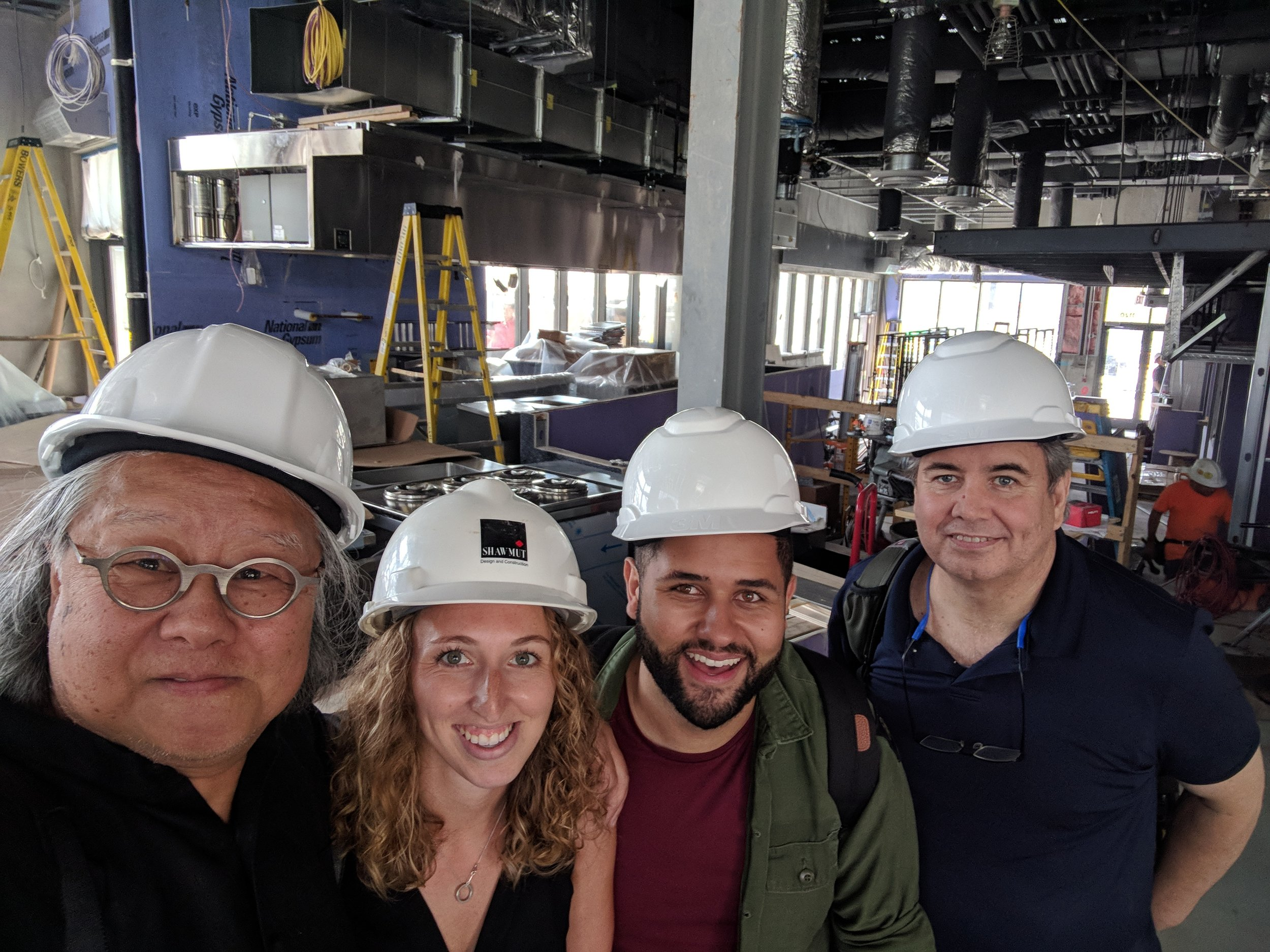 YuiDesign team members on-site during construction of Officina, Chef Nick Stefanelli's latest project, an Italian market and restaurant opening Fall 2018 at The Wharf in DC