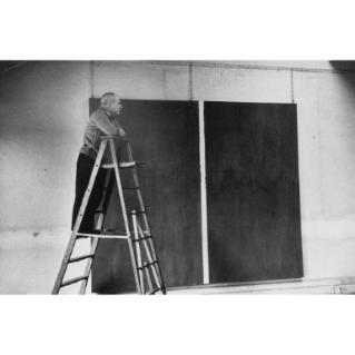 Barnett Newman in his studio