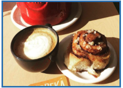 Large coffee and Cinnamon Roll  at Copeka Coffee