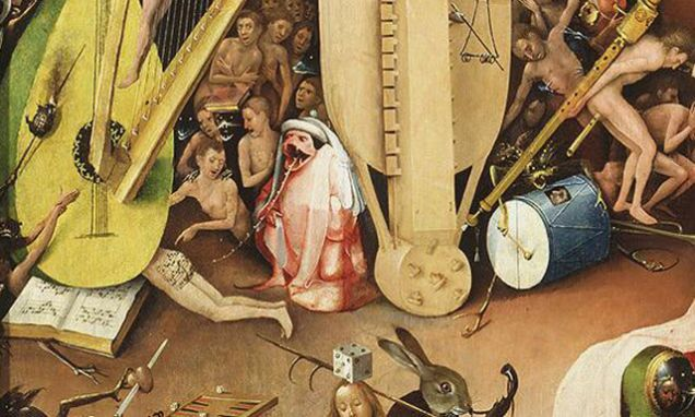 Possessed by the fiddle just like these creatures in my favorite painting by Hieronymus Bosch.
