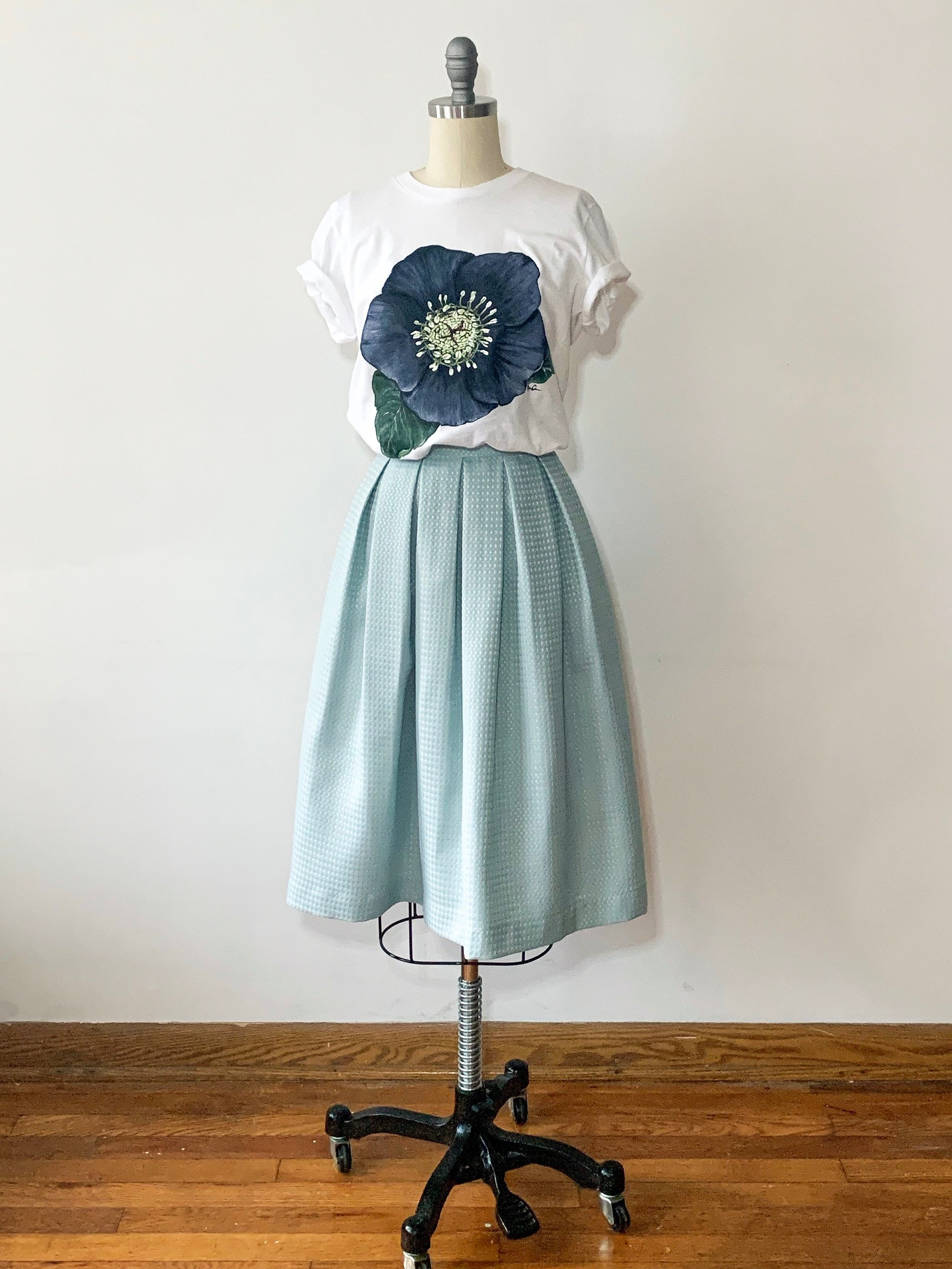 repurposed second-hand textiles - i find beautiful(and sometimes unexpected) second-hand textiles and create ready to wear pieces like this once shower curtain turned skirt