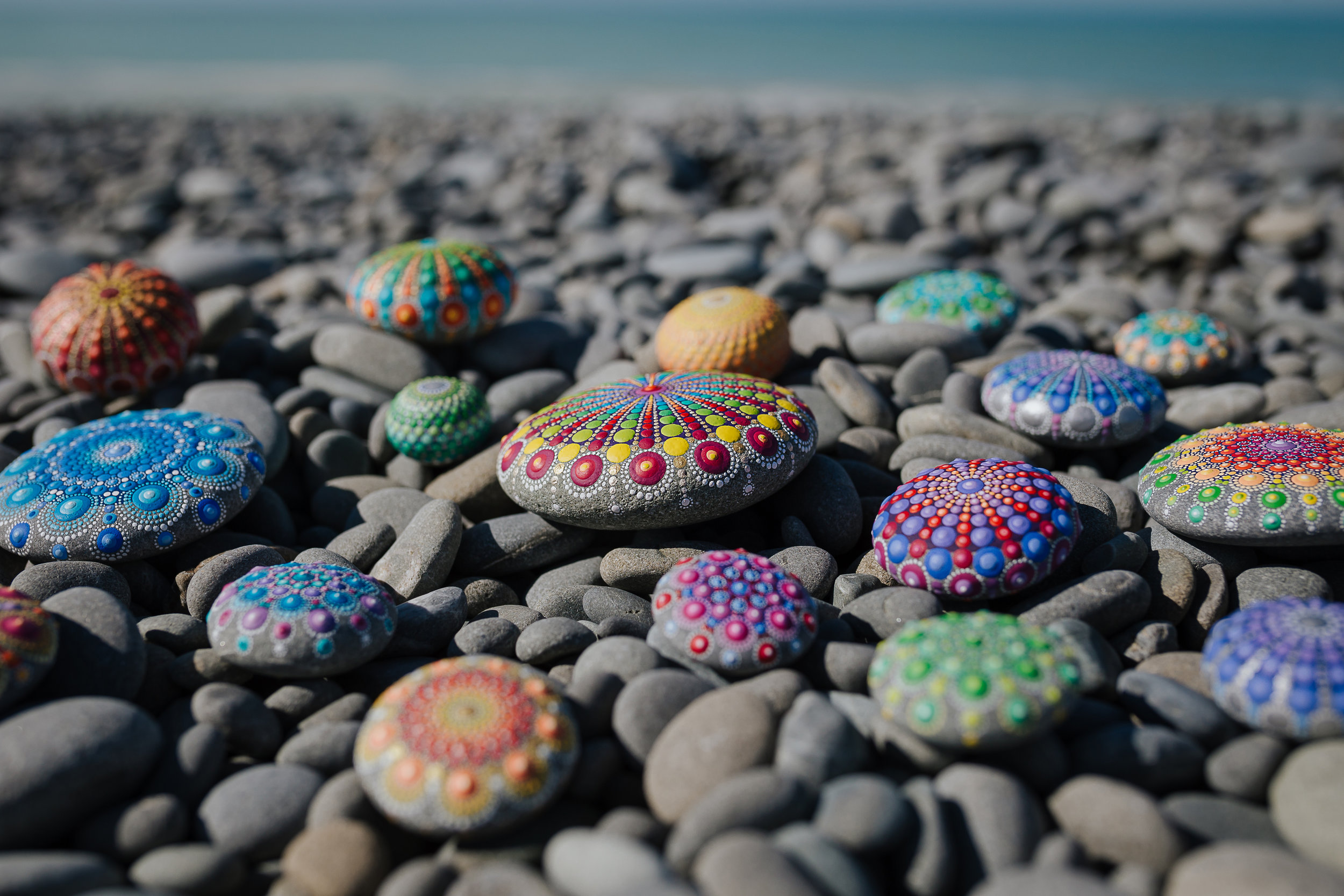 Colorful Mandala Stone   Elspeth Mclean