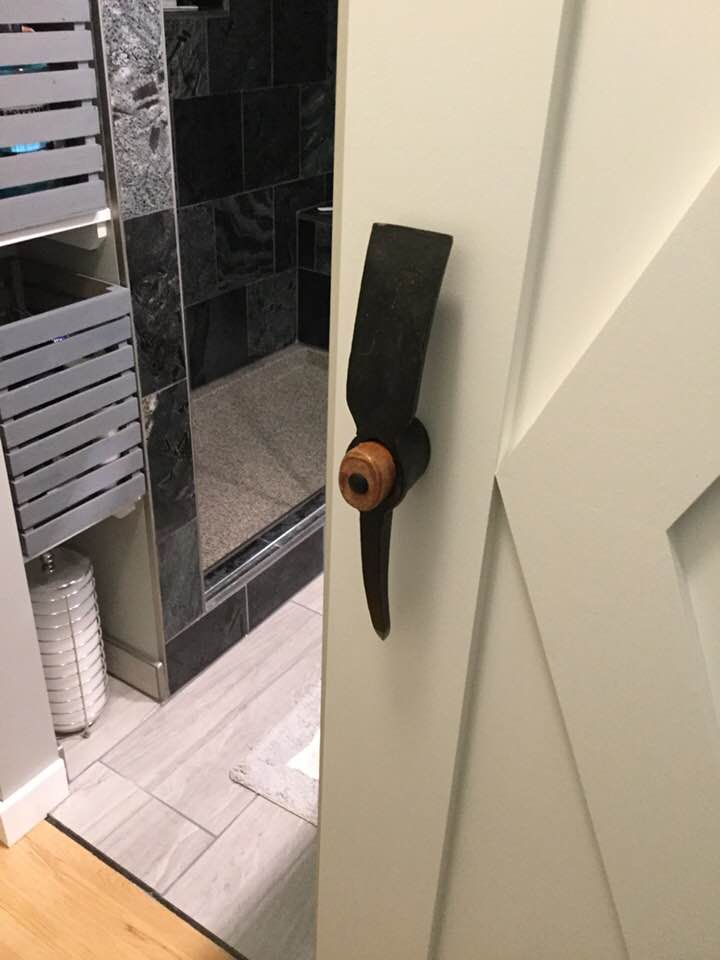 Unique door handle for custom barn door in the East Kootenays