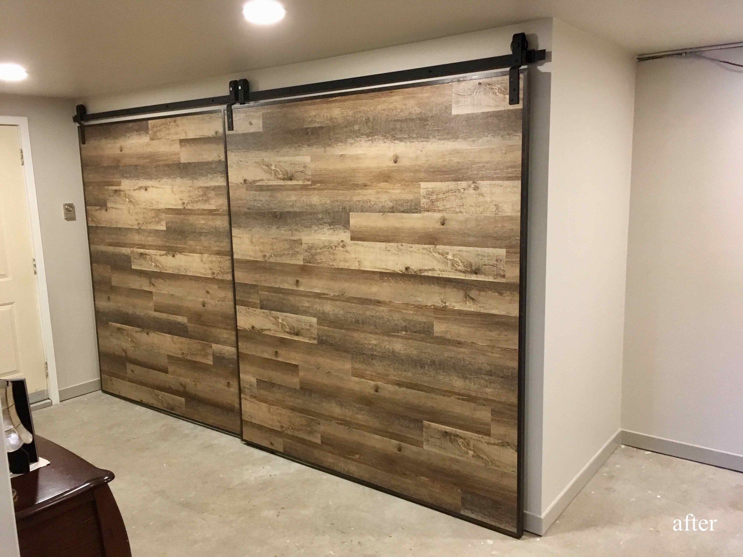Custom barn doors for a basement storage room in the East Kootenays.