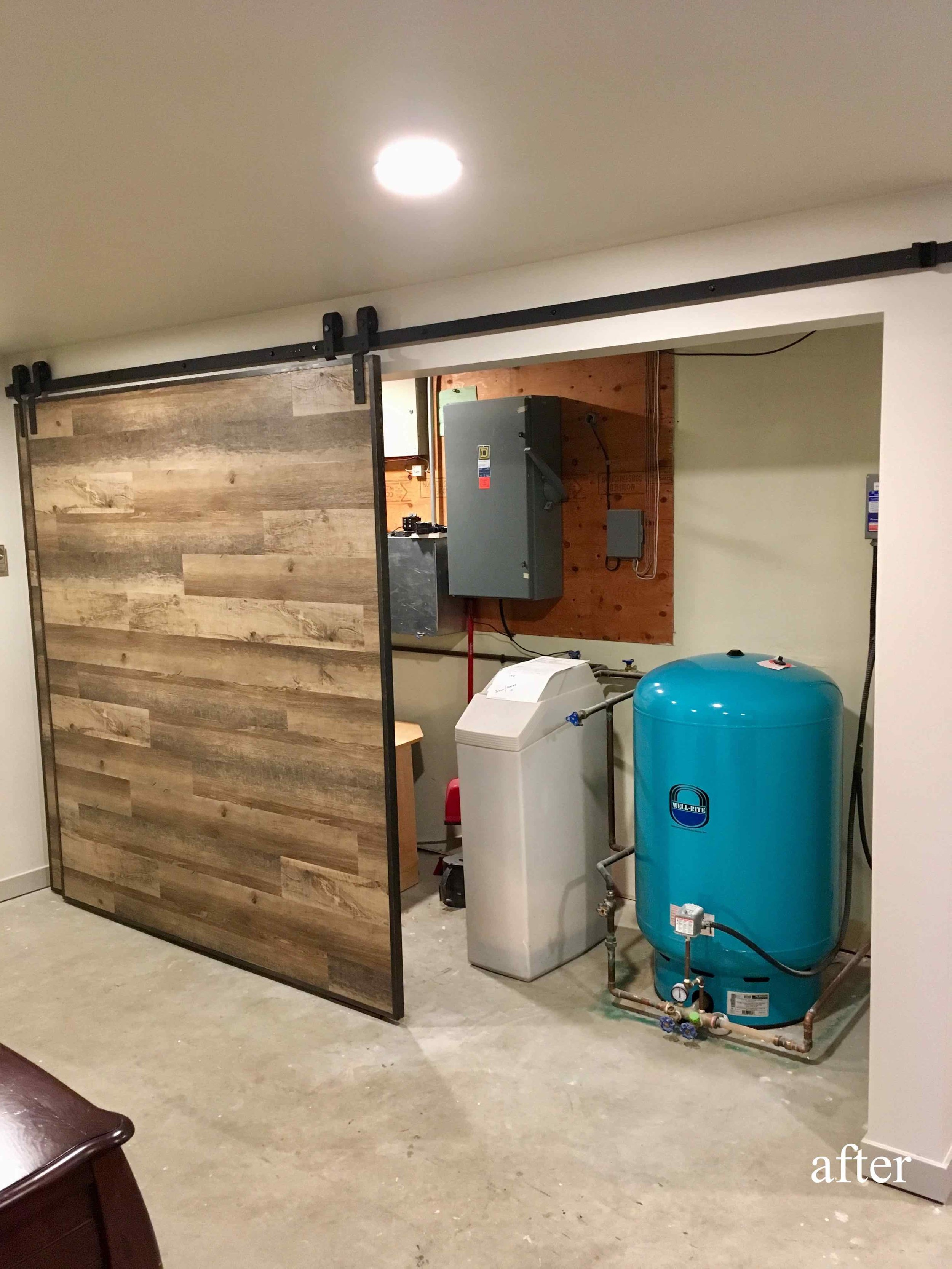 Custom barn doors in a basement renovation in the East Kootenays.