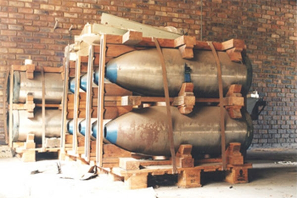 Spare shell casings from South Africa's nuclear weapons program