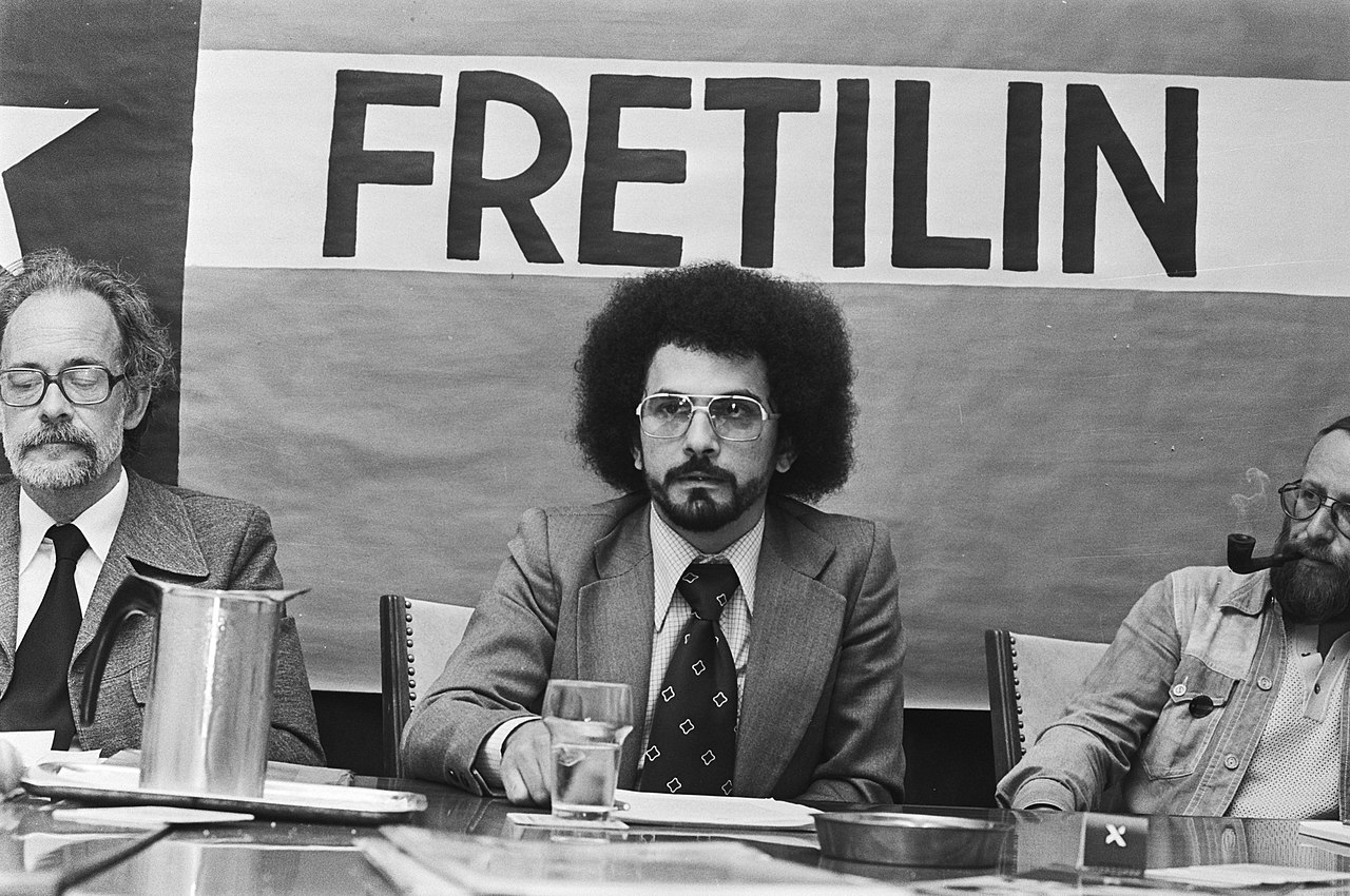 Horta (centre) at a press conference on June 8th 1976, in Amsterdam    ROB BOGAERTS - DUTCH NATIONAL ARCHIVES