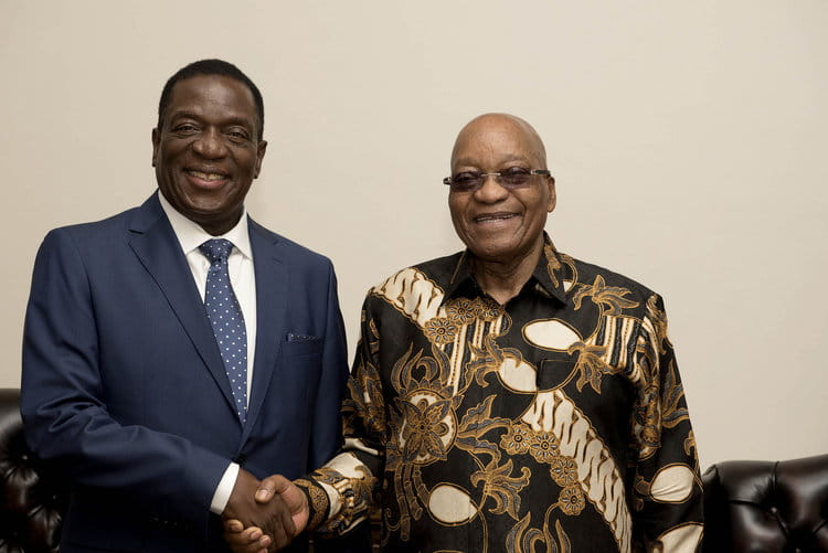 Emmerson Mnangagwa (left) shakes hands with former South African president Jacob Zuma in 2017 |  GOVERNMENT OF SOUTH AFRICA