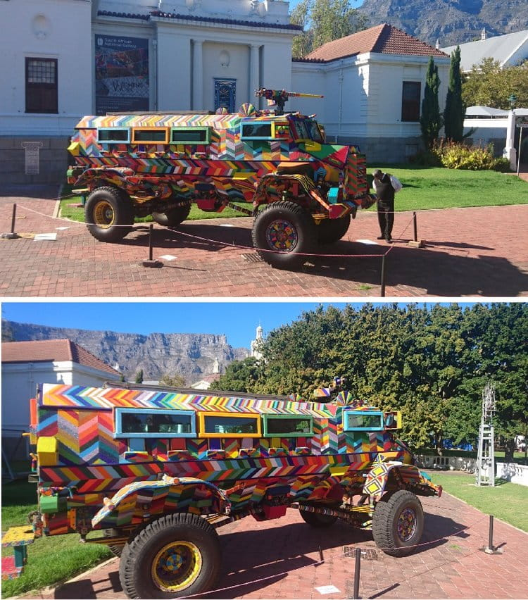 Ralph Ziman's bedazzled Casspir armoured vehicle outside the Iziko Art Museum in Cape Town |  WIKIMEDIA COMMONS
