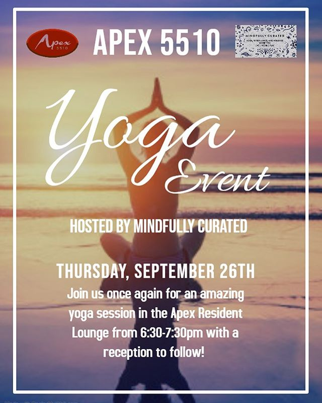• Fall Yoga and Social Hour • Join @mindfullycurated at @apex5510 Thursday Sept. 26 for a Fall yoga class for residents and guests taught by @108mudra followed by a reception 🍷 🧀 🍁 : .  #yoga #yogalove #yogaeverydamnday #yogaeverywhere  #yogachallenge #yogainspiration #denveryoga #coloradoyoga #coloradoyogi#igyoga  #mindfulness #wellbeing #healthy #fit #fittness #wellness #health #yogaphotography #mindfullycurated #mindfullycuratedyoga #mindfullycurateddenver #luxurylifestyle #luxuaryyoga #rooftopyoga #mindfullycuratedyogaforgood